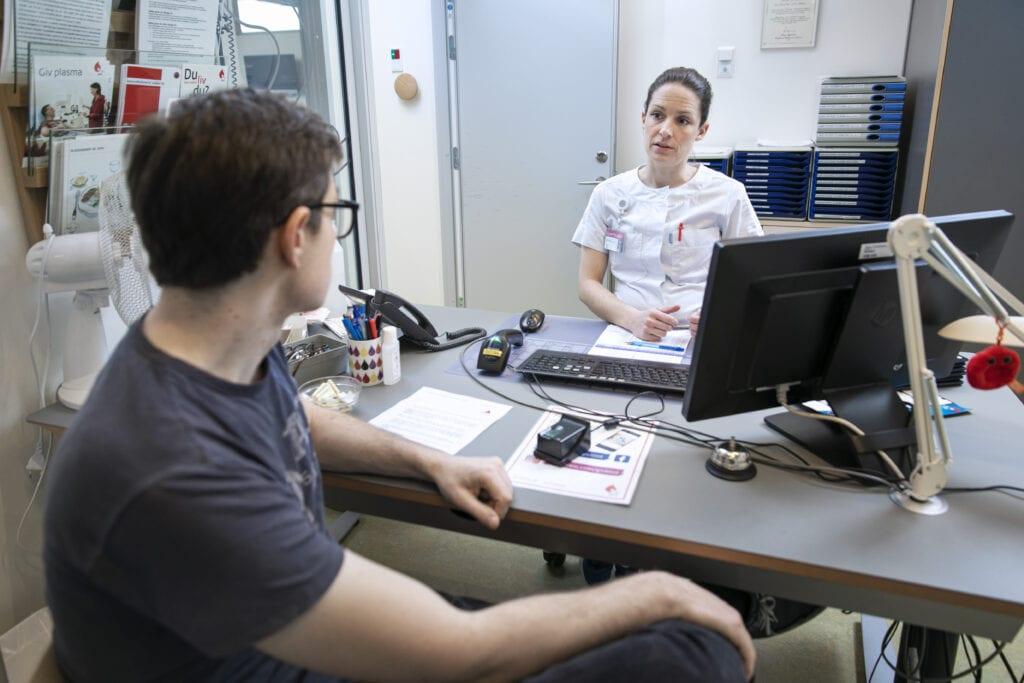 Donor samtale i blodbanken